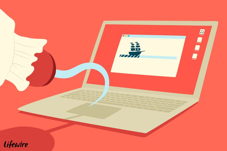Pirate with hook for a hand using a laptop to access The Pirate Bay