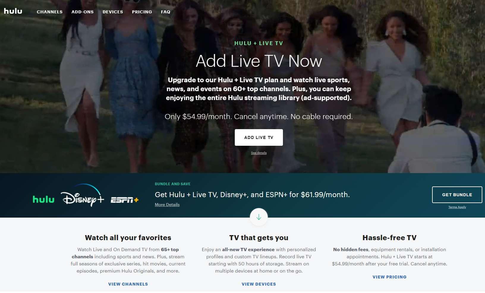 Hulu's Live TV service homepage