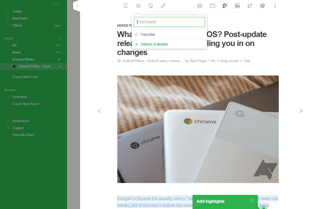 Feedly option to save to board