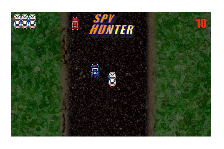 Still of two cars on a road from Spy Hunter.