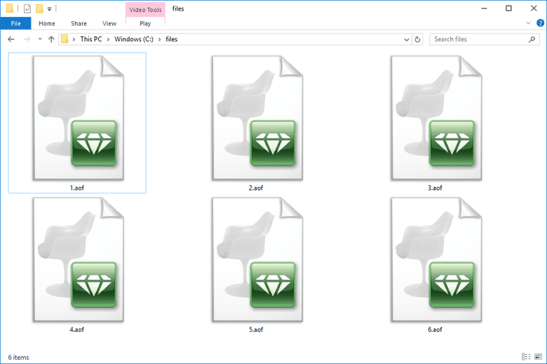 Screenshot of several AOF files in Windows 10 that open with Artlantis Studio
