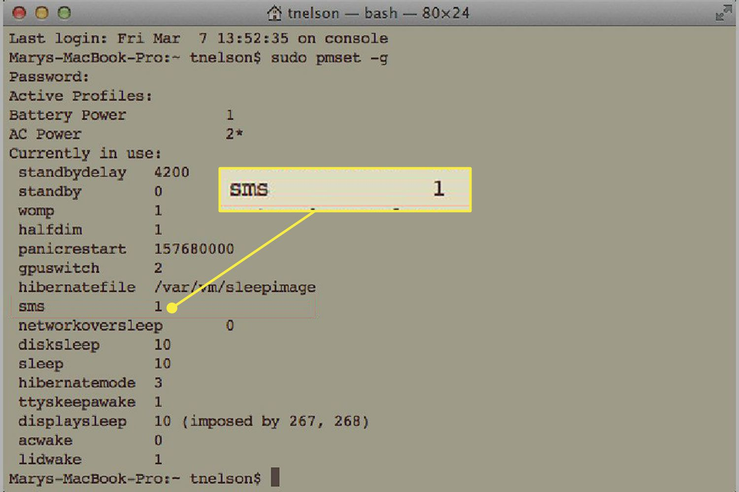 SMS reading in Terminal