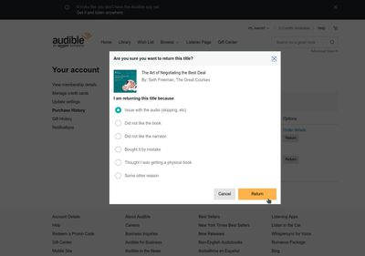 While Audible Asks for a Reason, You're Always Free to Make a Return