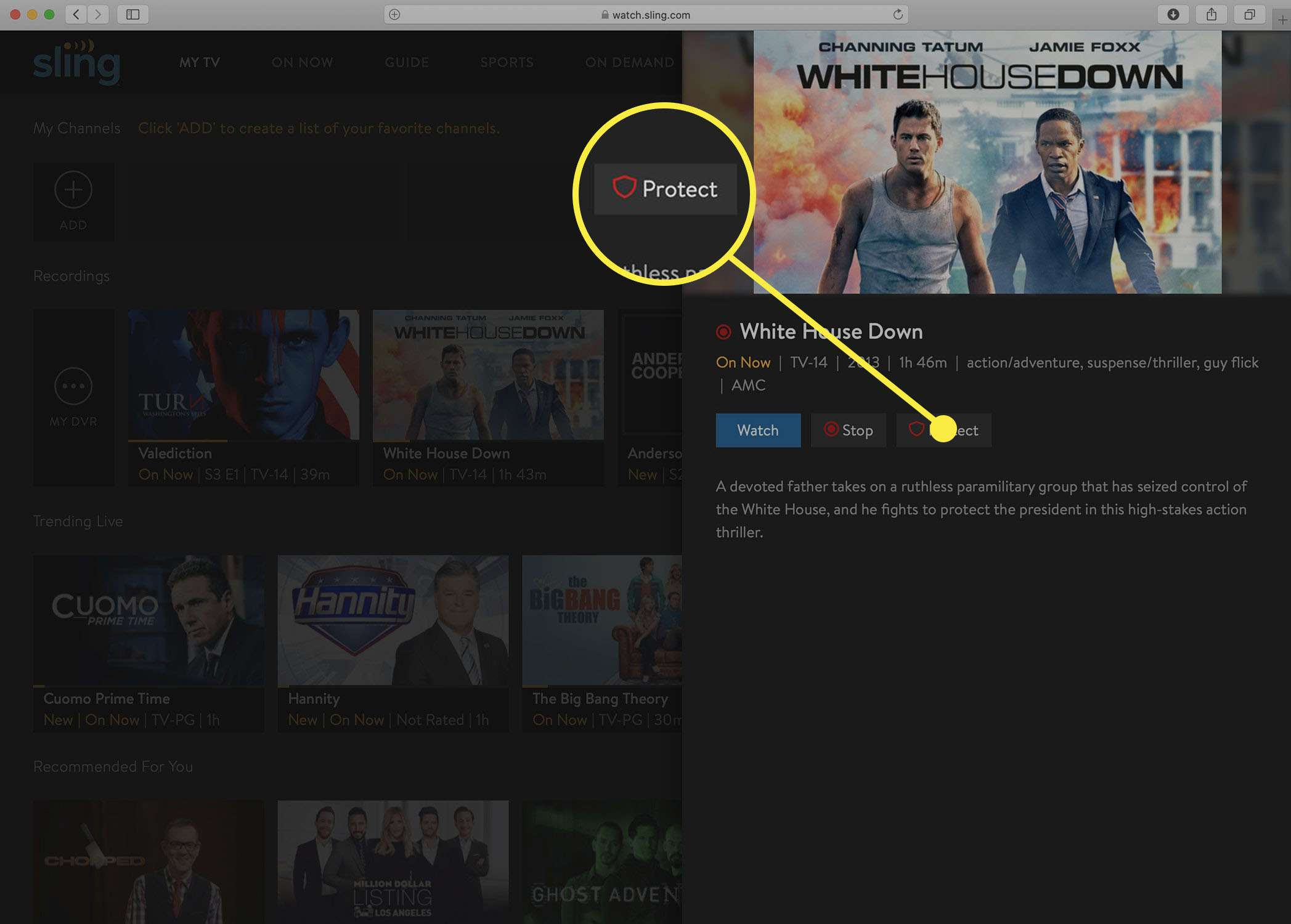 Screenshot of the Sling TV option to Protect a DVR recording.