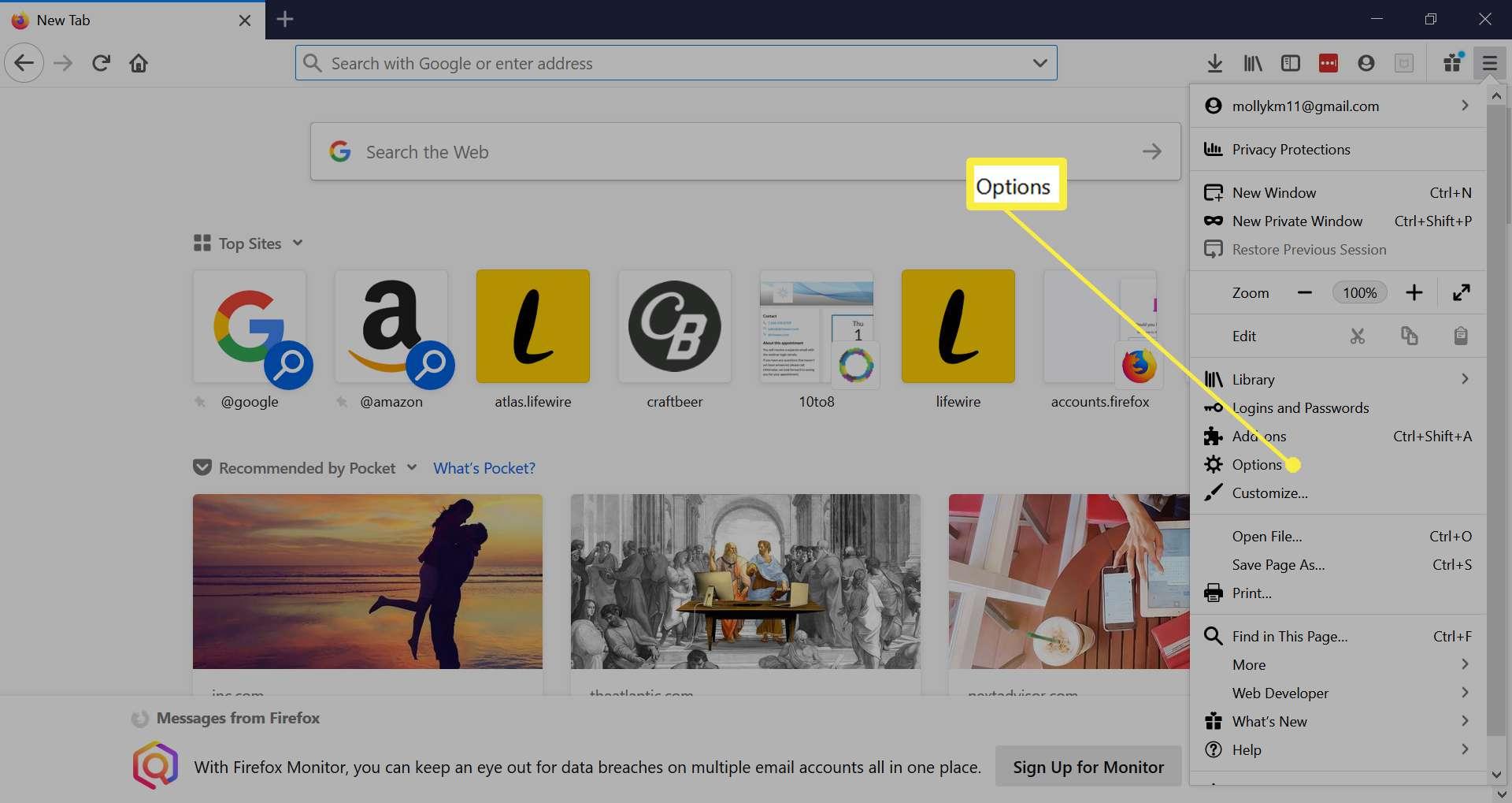 Firefox settings menu.