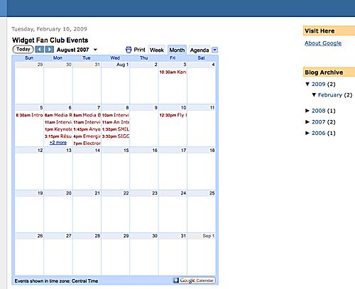 Embedded Google Calendar