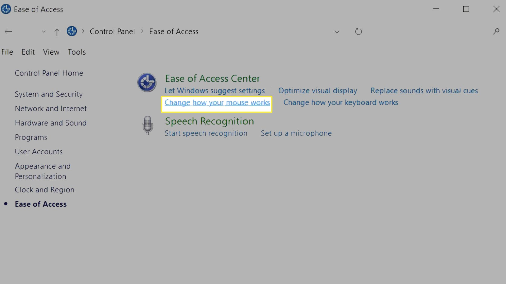 Change how your mouse works highlighted from Windows 10 Ease of Access Center