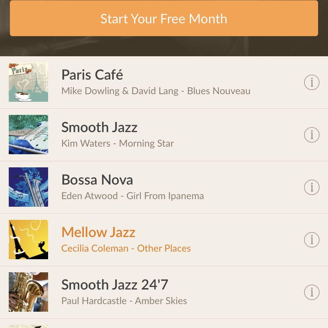 screenshot of Jazz Radio! app