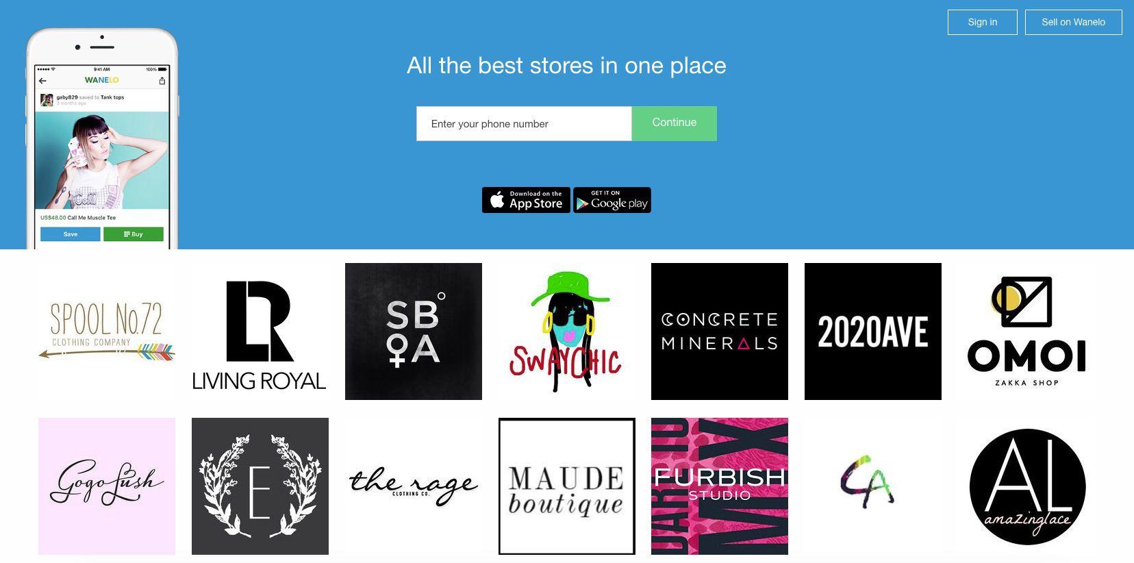 A screenshot of the Wanelo website.