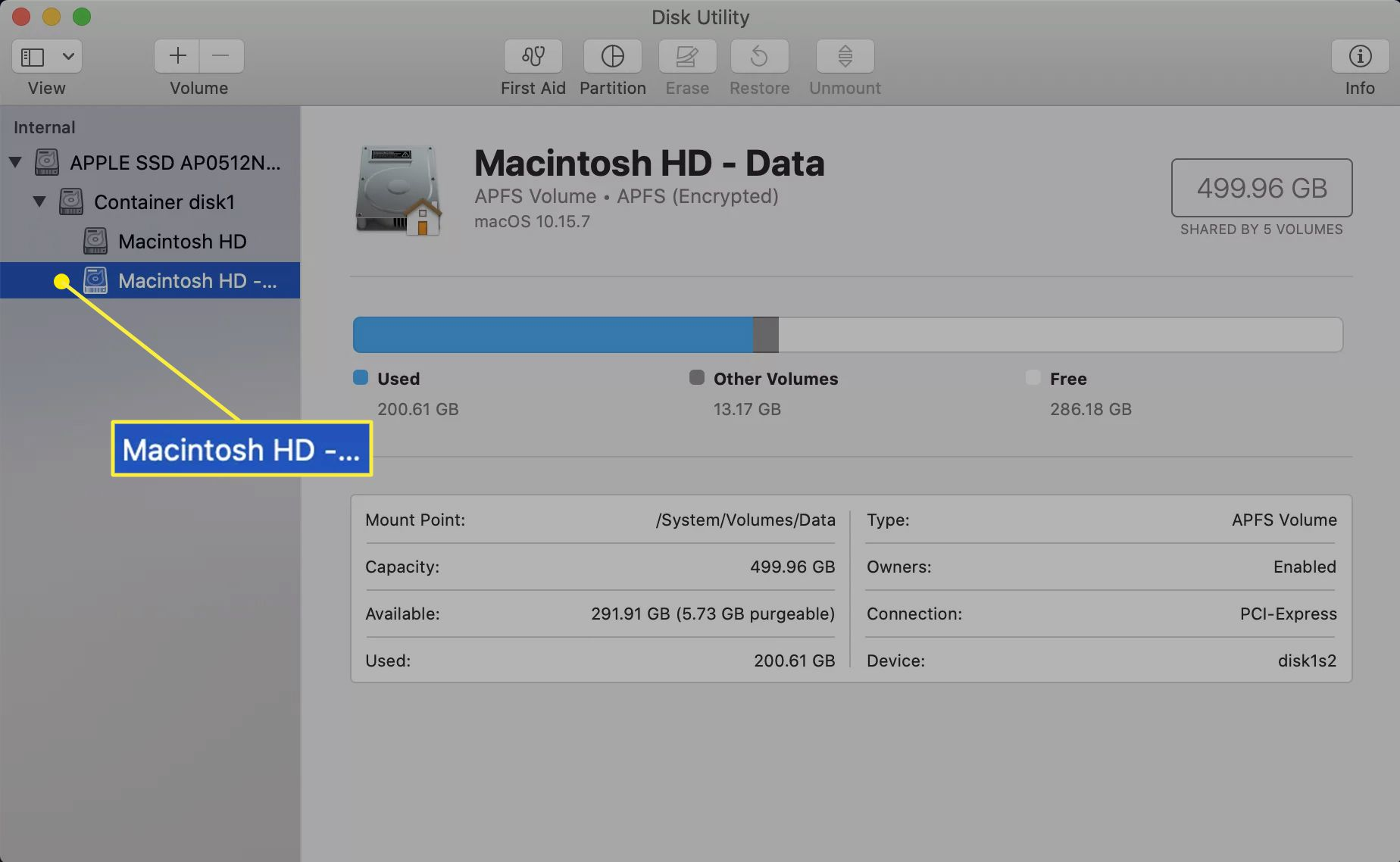 Disk Utility with a volume selected