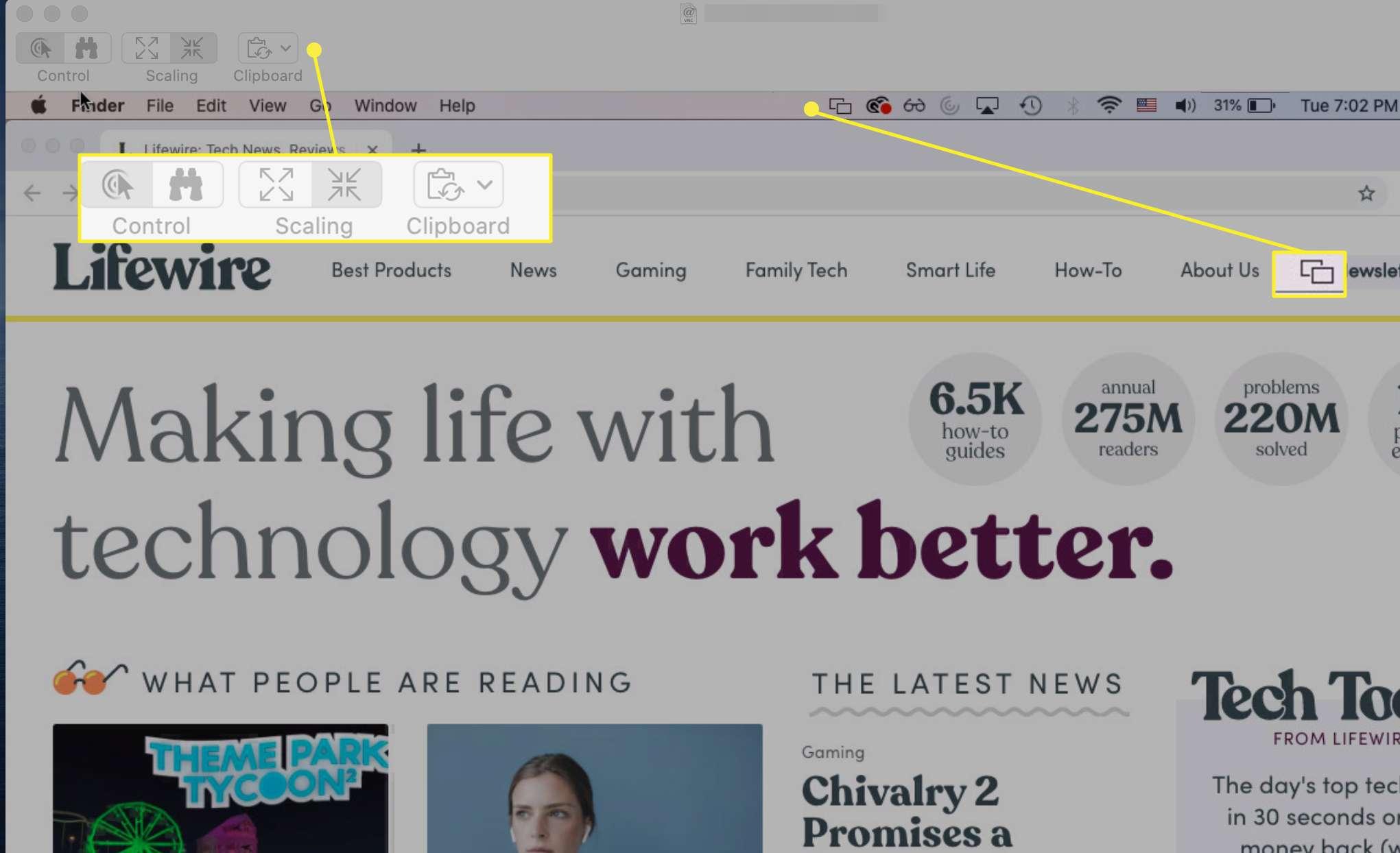 Screen sharing controls and menu icon during an active sharing session between Macs