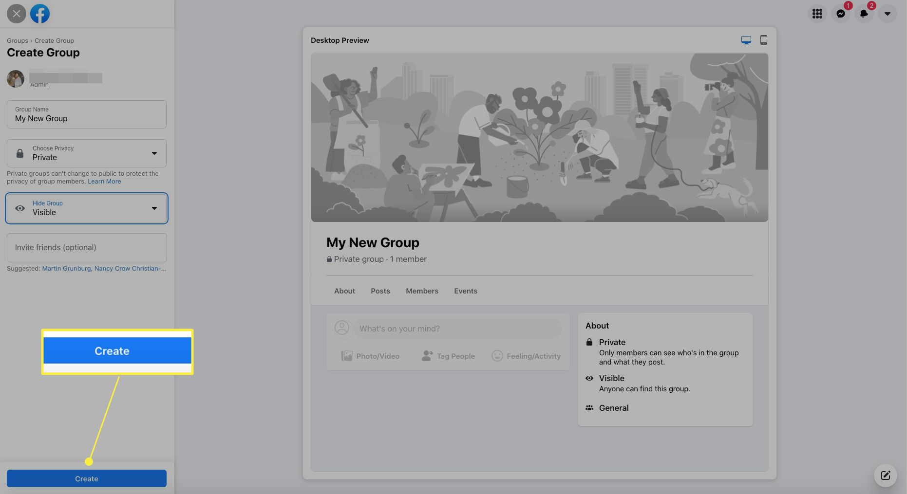 Facebook Group creation with Create highlighted