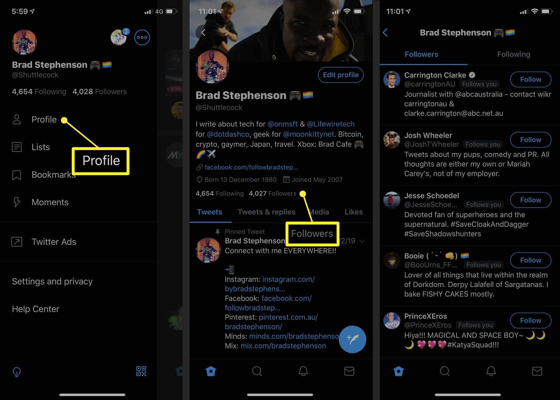 Twitter profile follower list in the iOS Twitter app