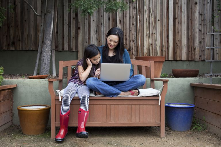mom and daughter using laptop computer outside