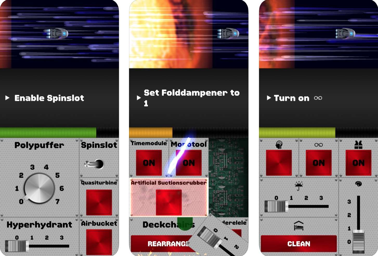Game screens from Spaceteam