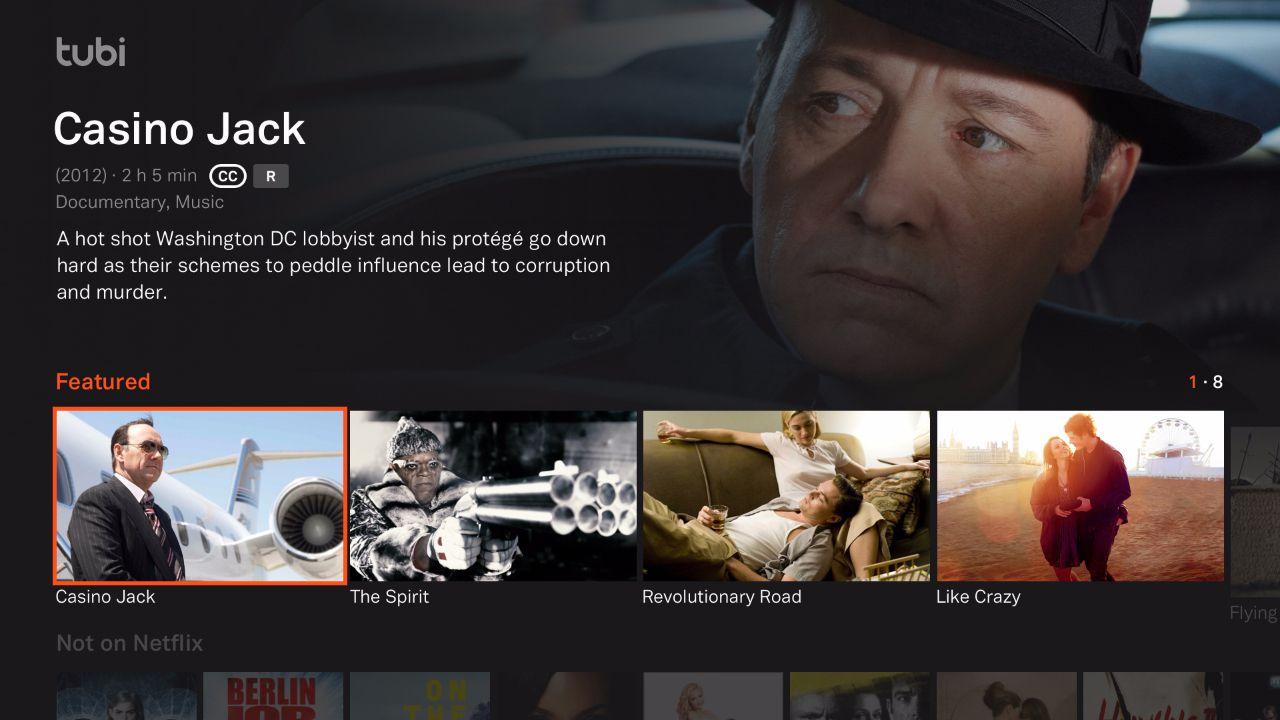 Tubi TV–Roku Channel Menu Example