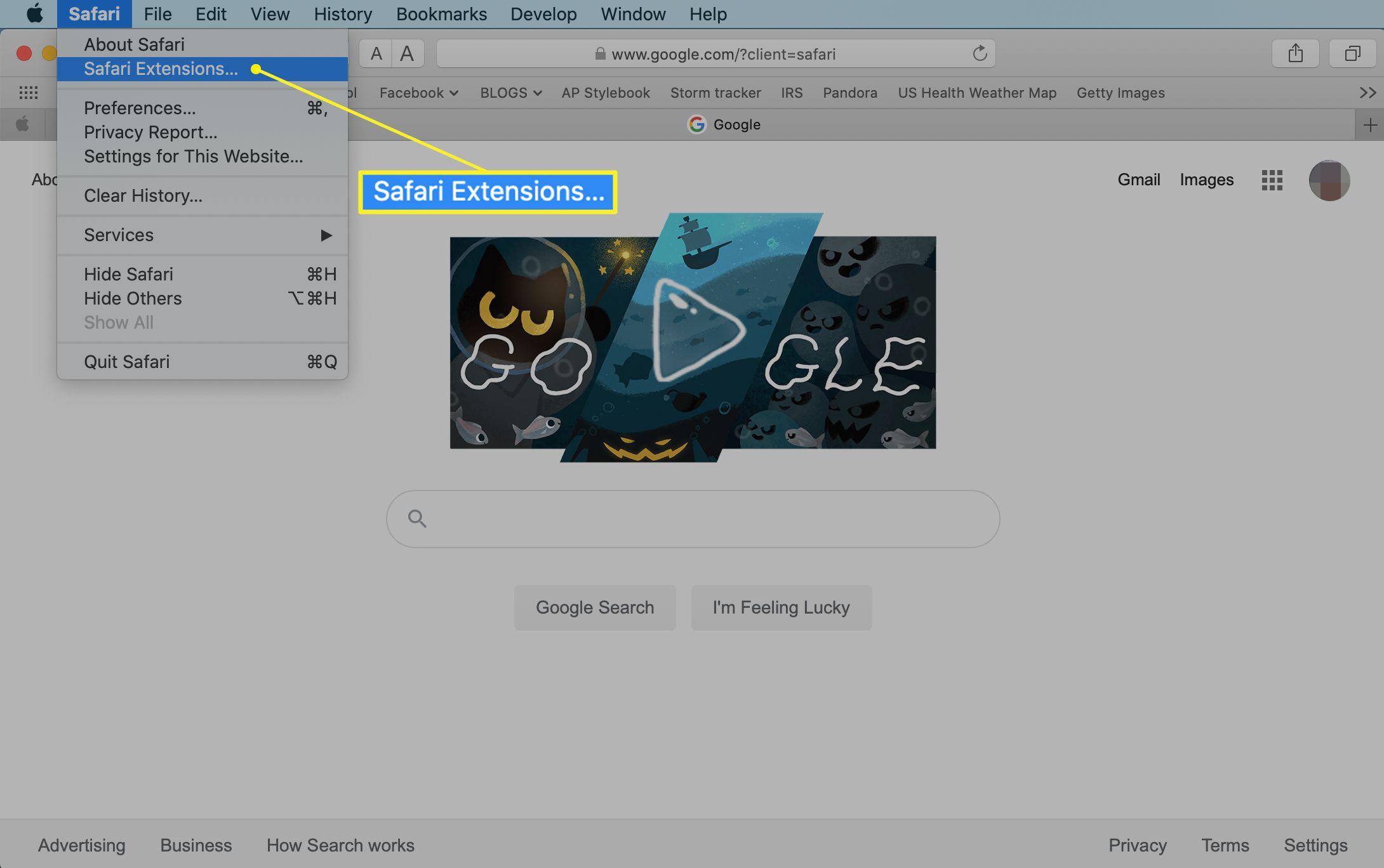 Safari menu with Safari Extensions selected