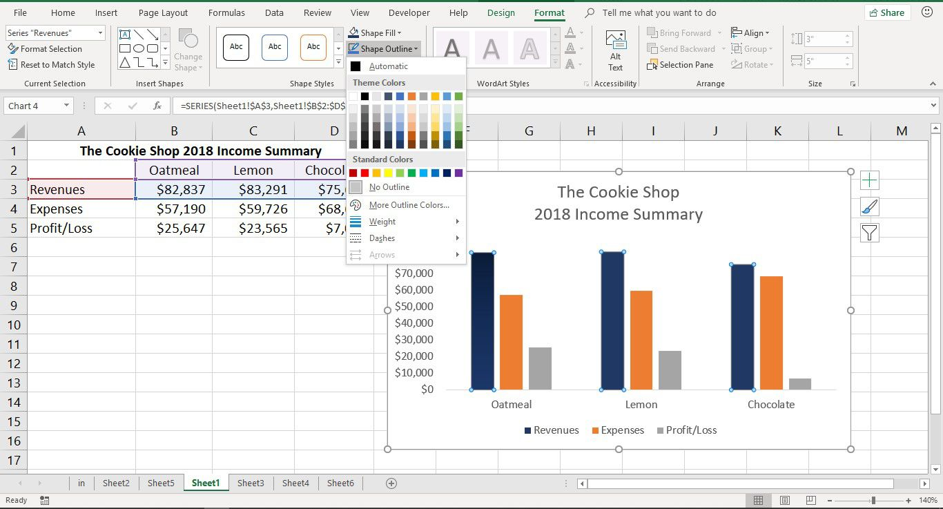 A screenshot showing how to change the color of chart elements in Excel