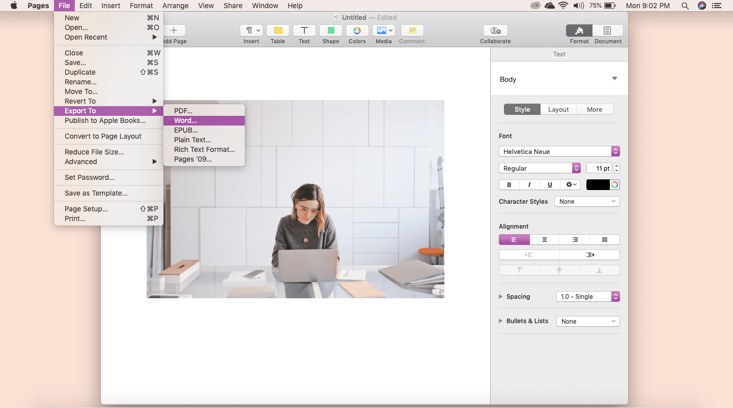 Screenshot of Export to Word feature in Apple Pages