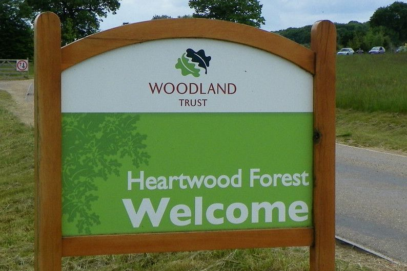 Heartwood Forest welcome sign