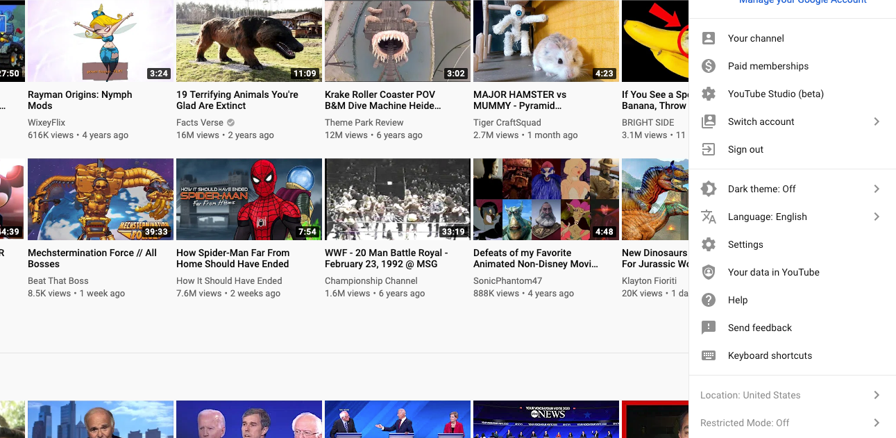 The YouTube user interface.
