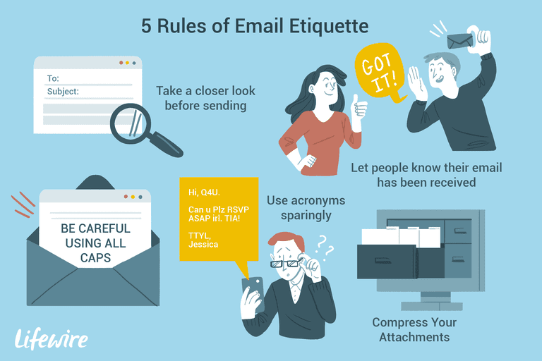 Illustration of the 5 rules of email etiquette