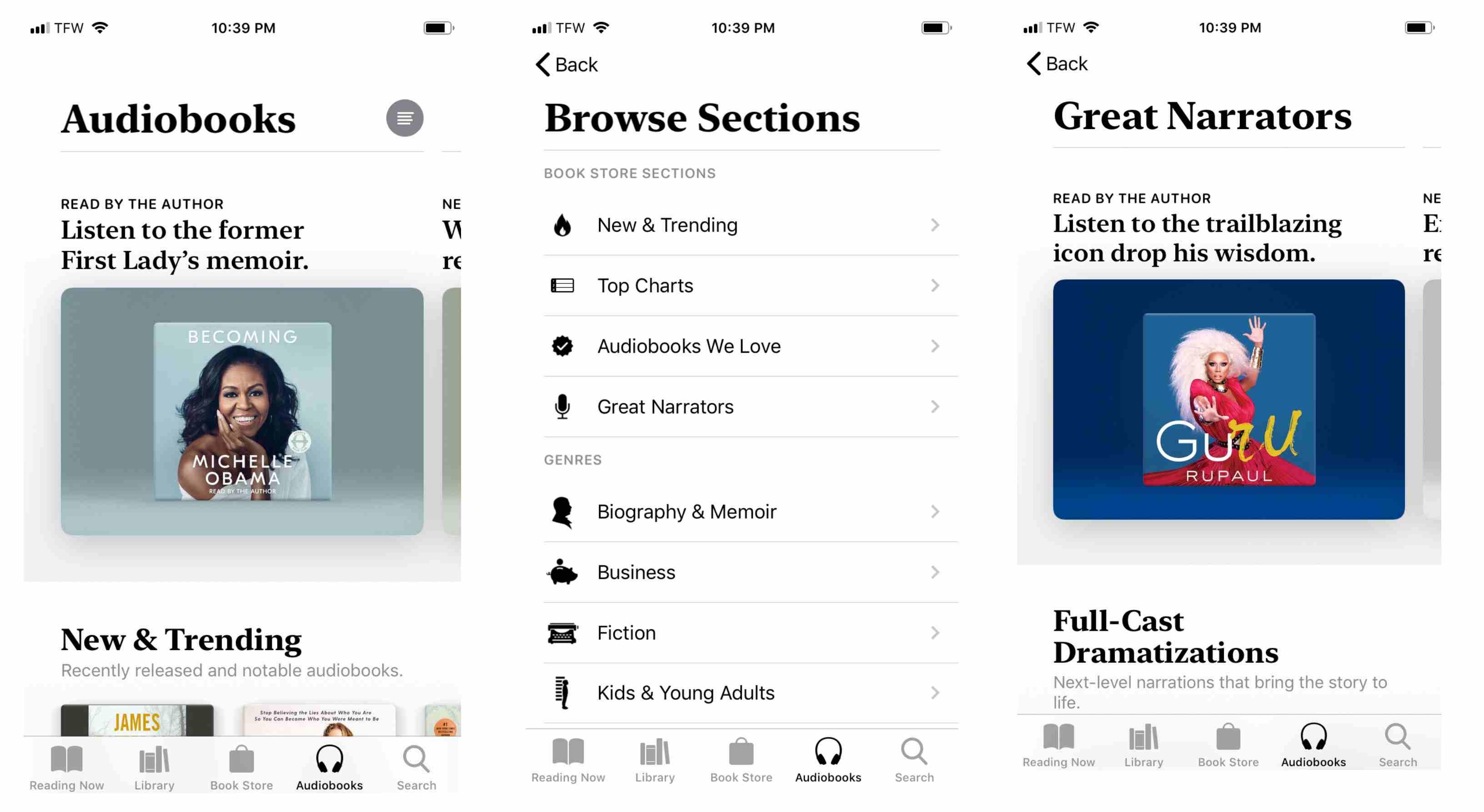Screenshot of Apple Books Audiobooks screen on iPhone