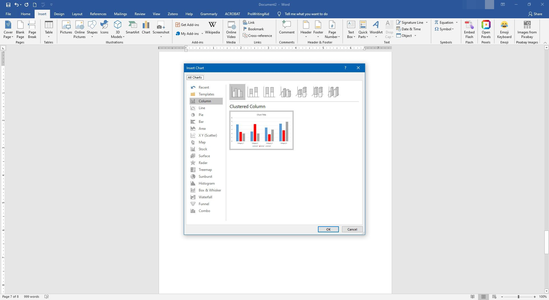 Different chart options in Microsoft Word.