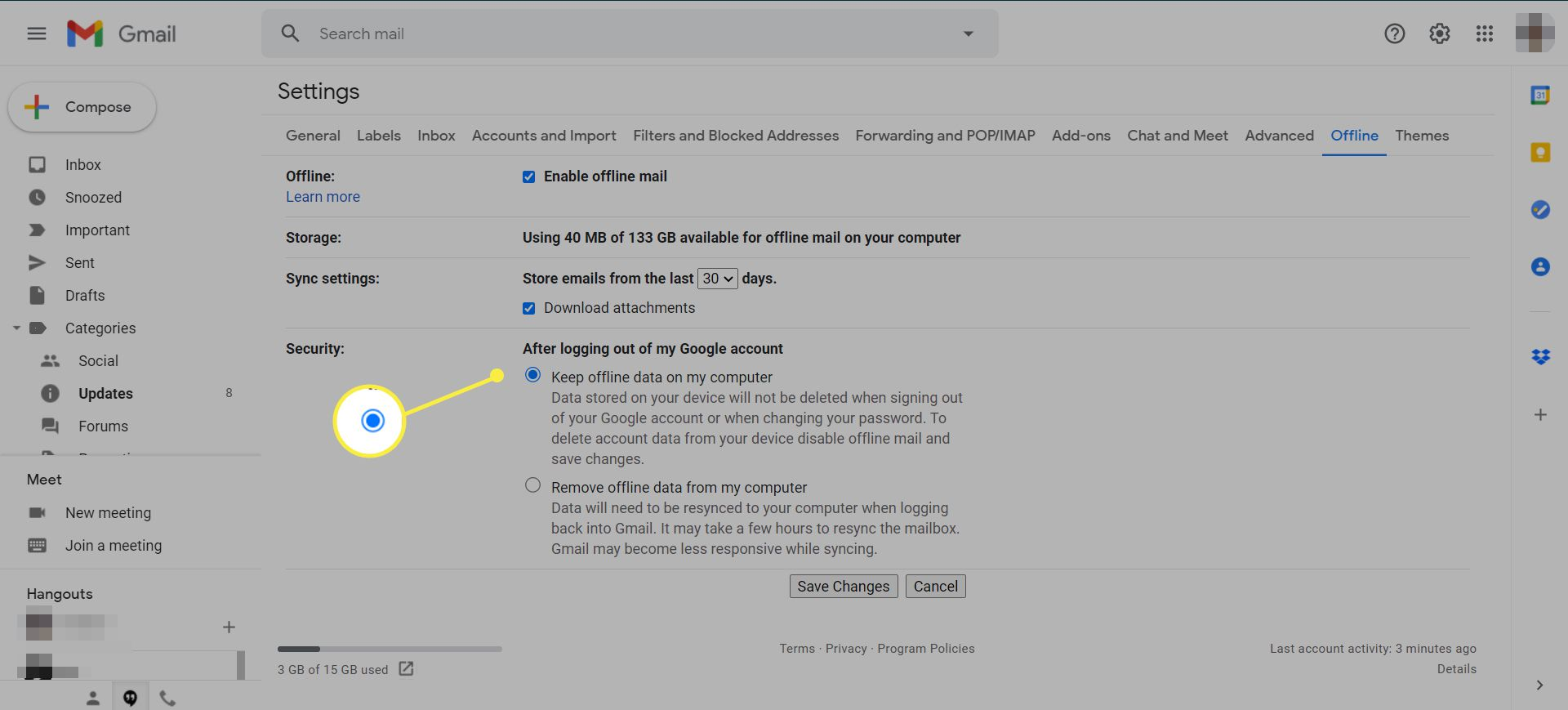 Gmail offline settings with the 'Keep offline data on my computer' radio button highlighted