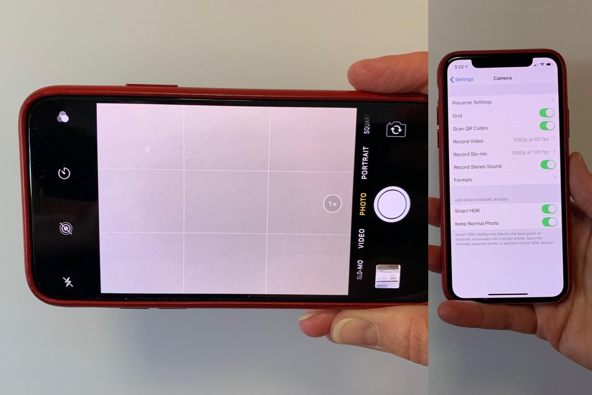 Photo shows Settings > Camera > Grid on (right); with Camera app with grid displayed (left)