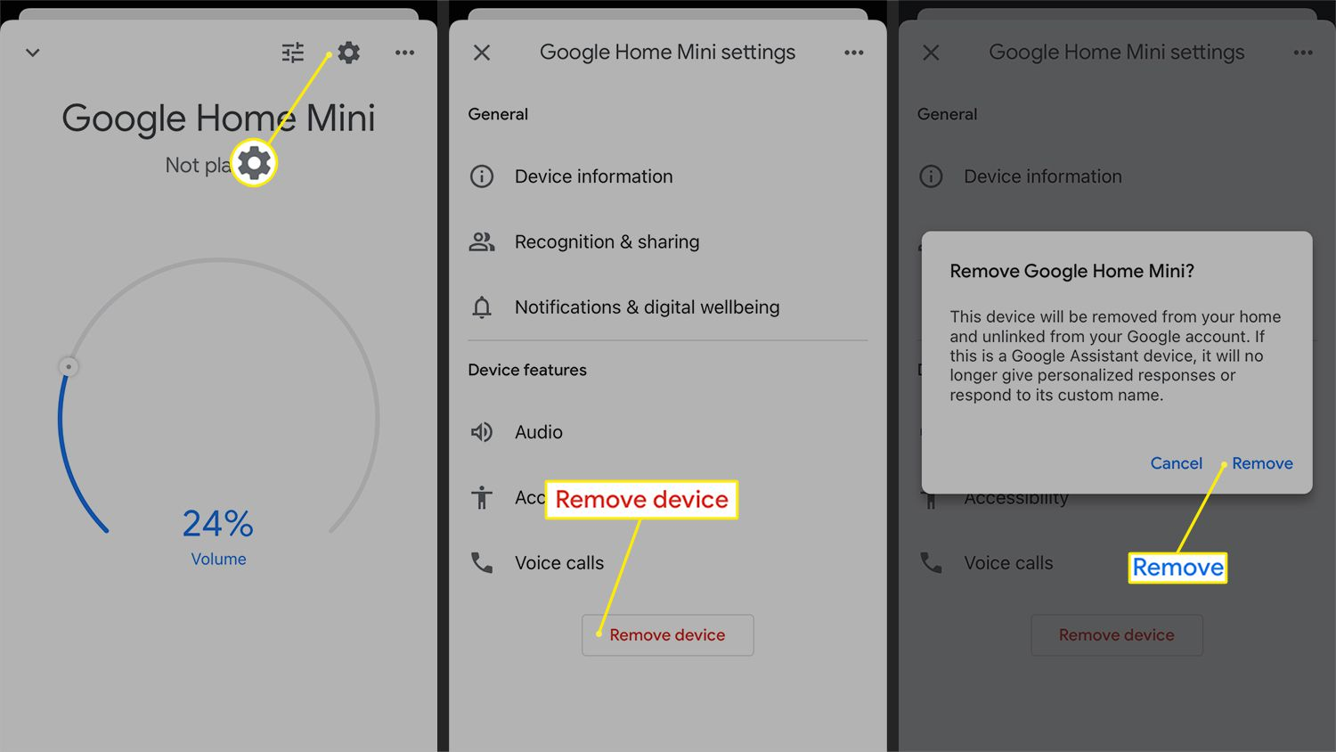 The Remove device option from the Google Home app