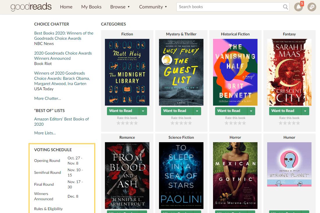 Screenshot of the Goodreads book site