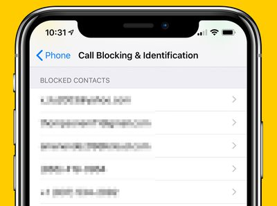 Call Blocking & Identification screen on iPhone X