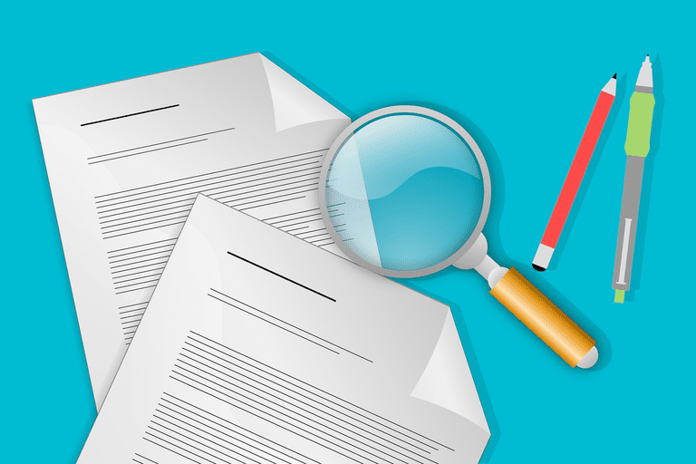 Audit illustration with papers, magnifying glass, and pens