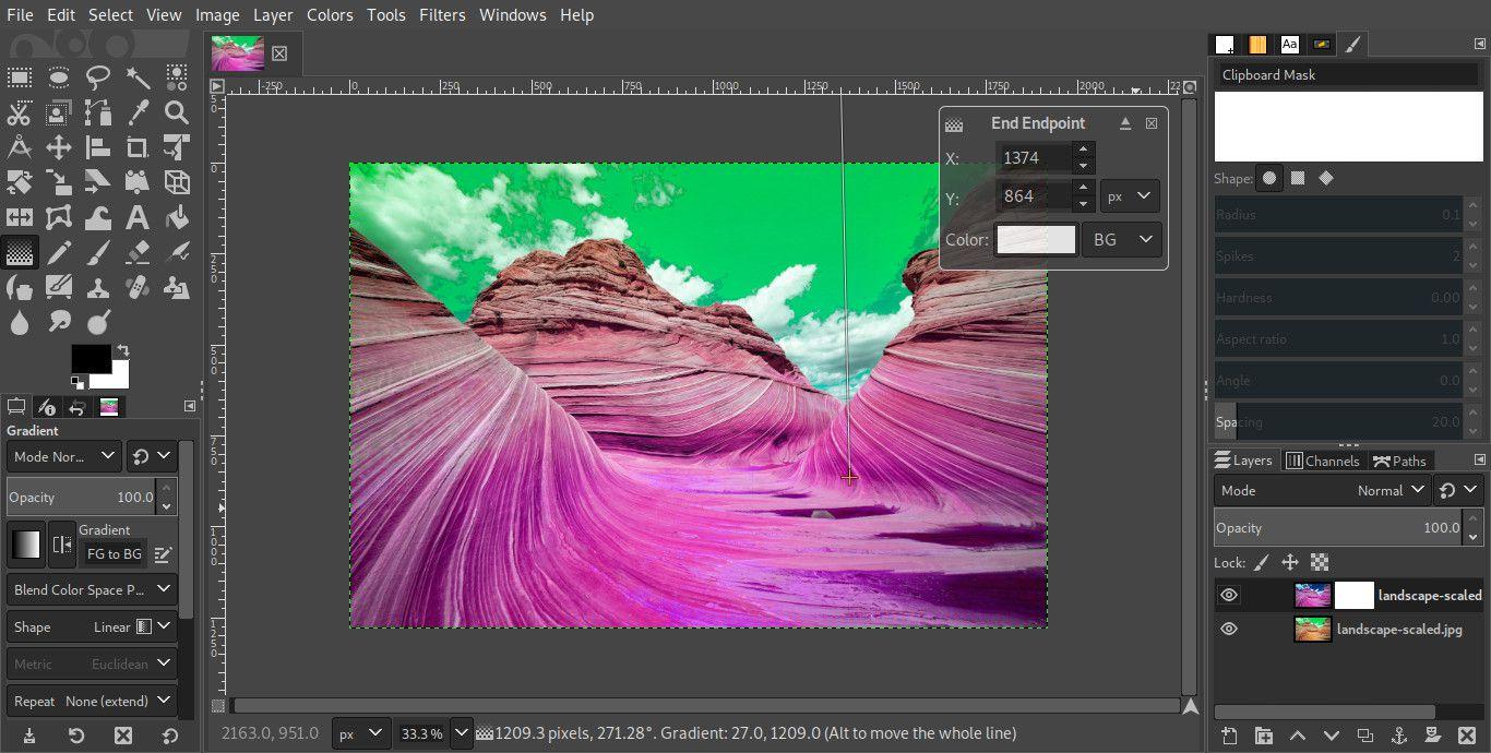 GIMP gradient tool on layer mask