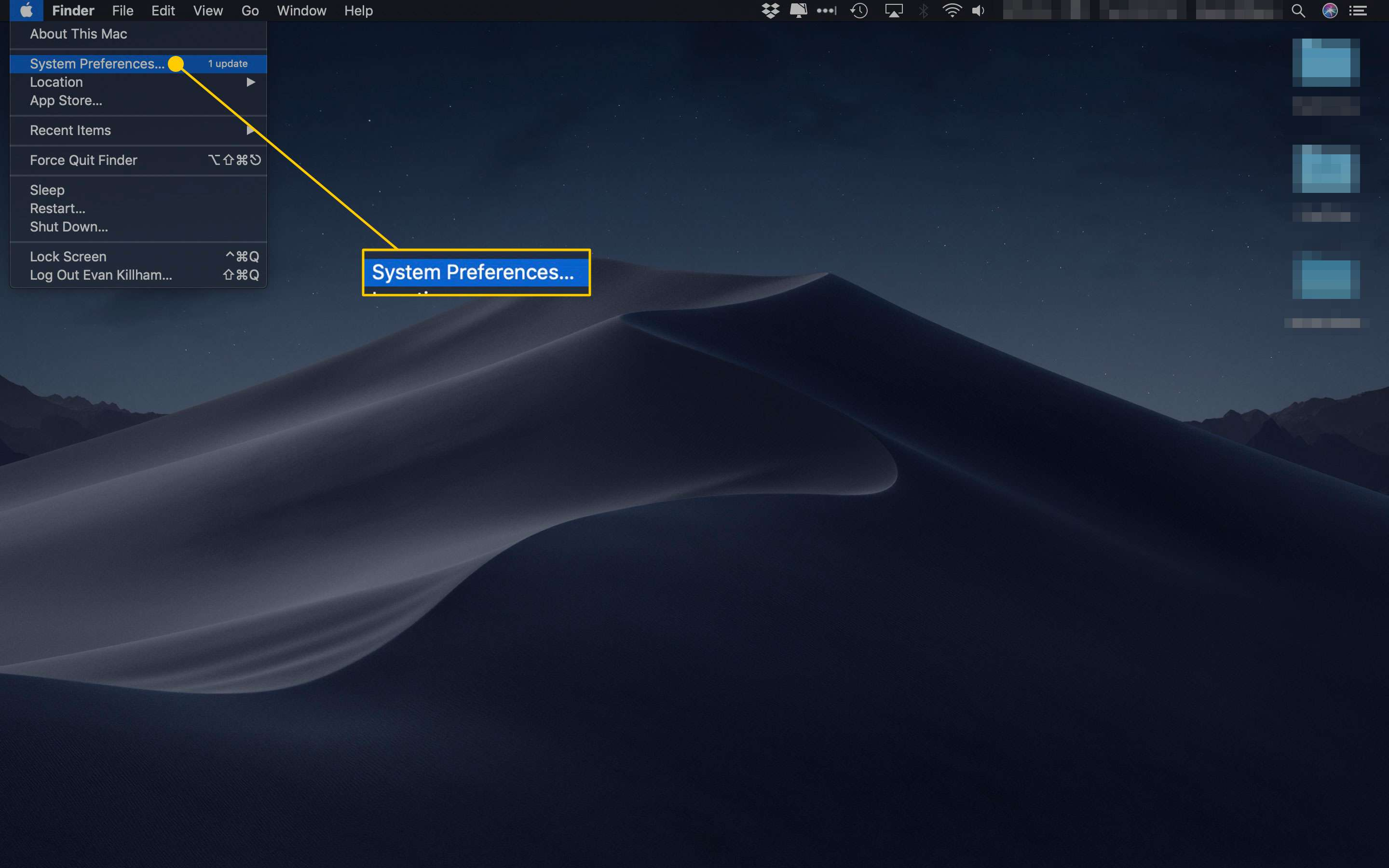 Mac desktop with the System Preferences command highlighted