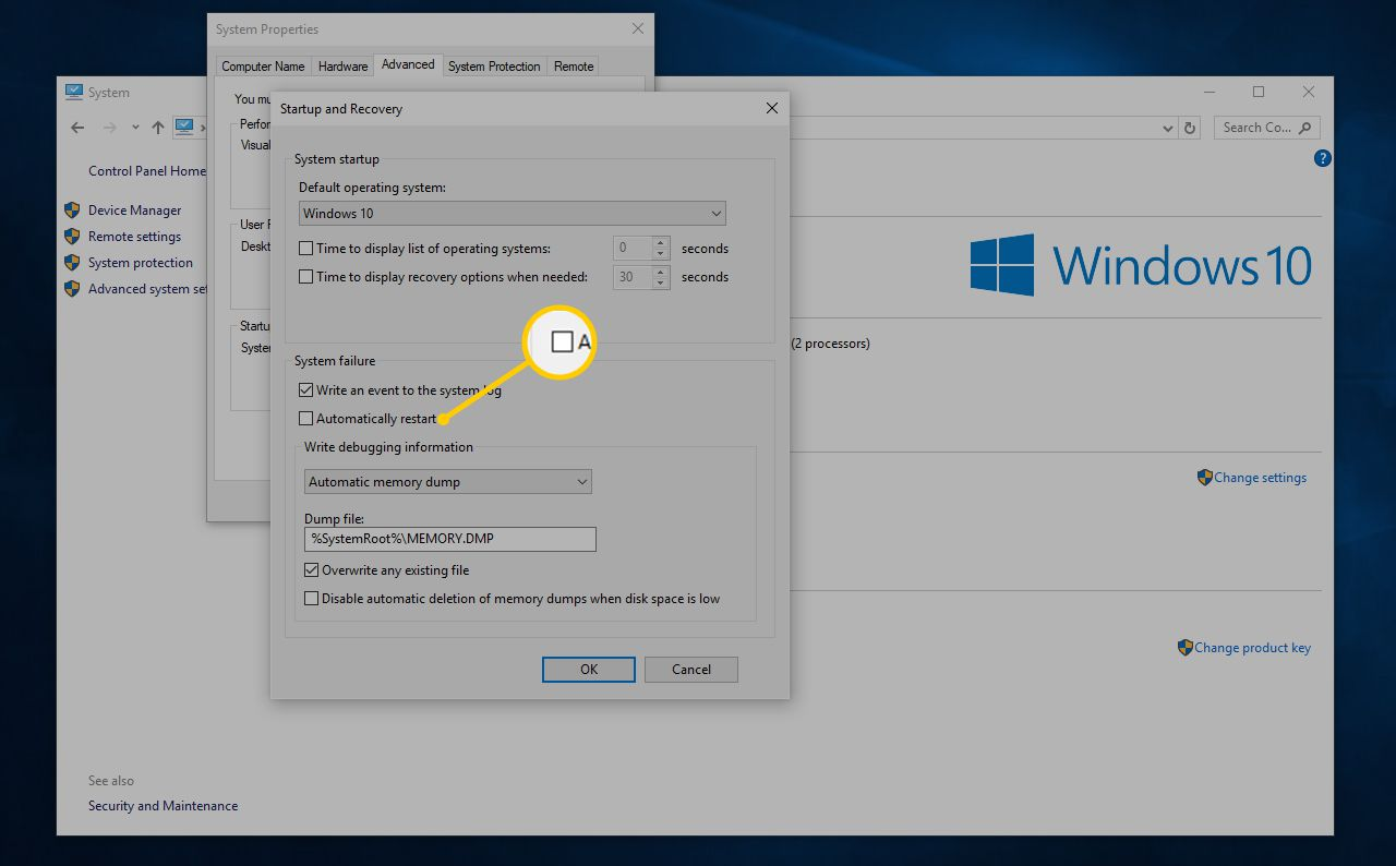 How to Disable Windows Automatic Restart on System Failure