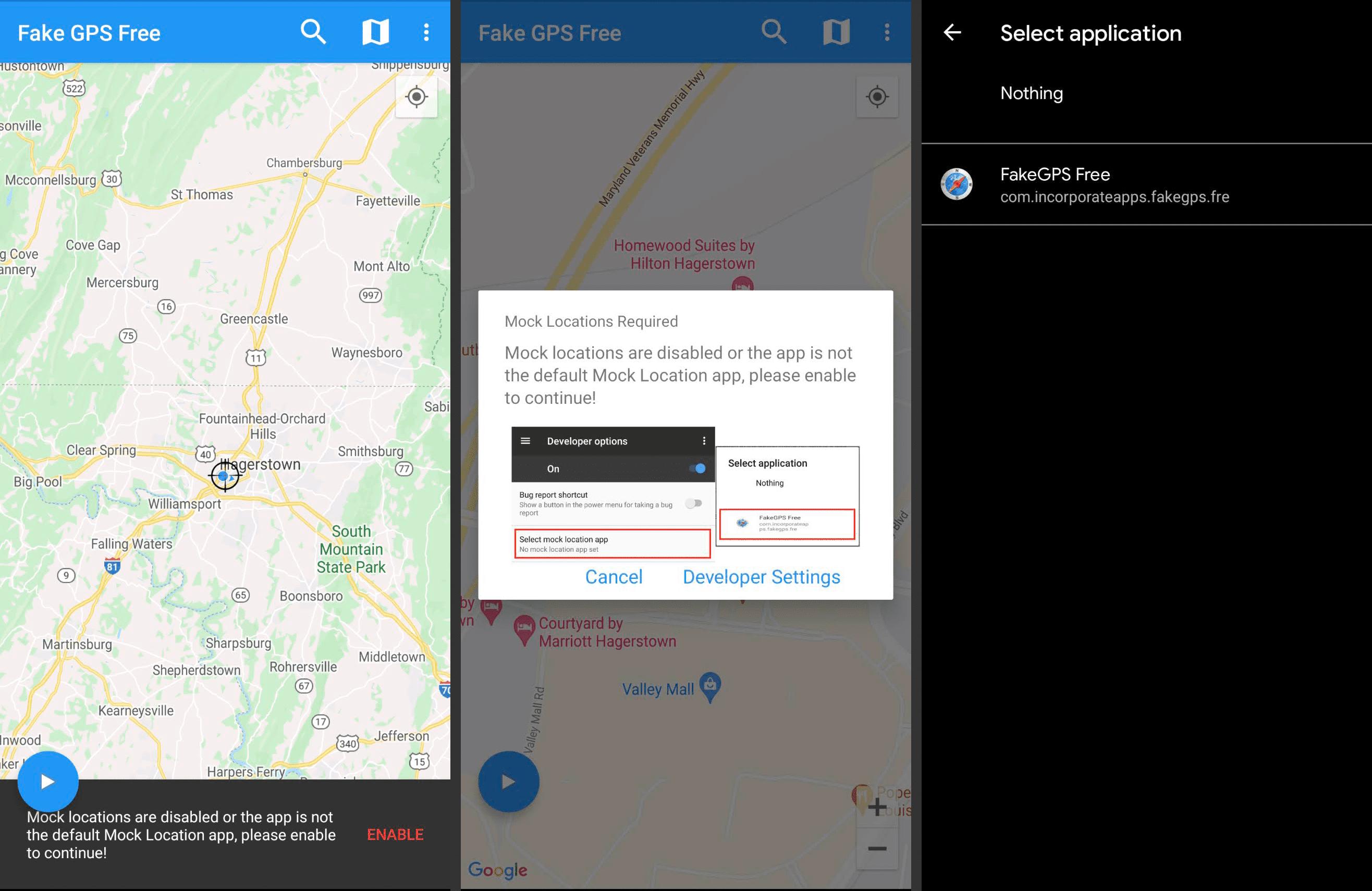 FakeGPS Free Android app screens