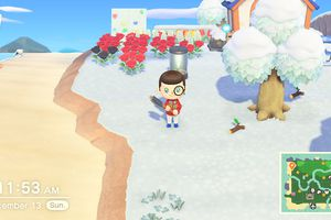 Animal Crossing New Horizons screenshot showing a character holding an axe