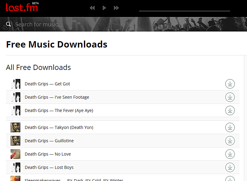 Screenshot of the Last.fm free classical music downloads page
