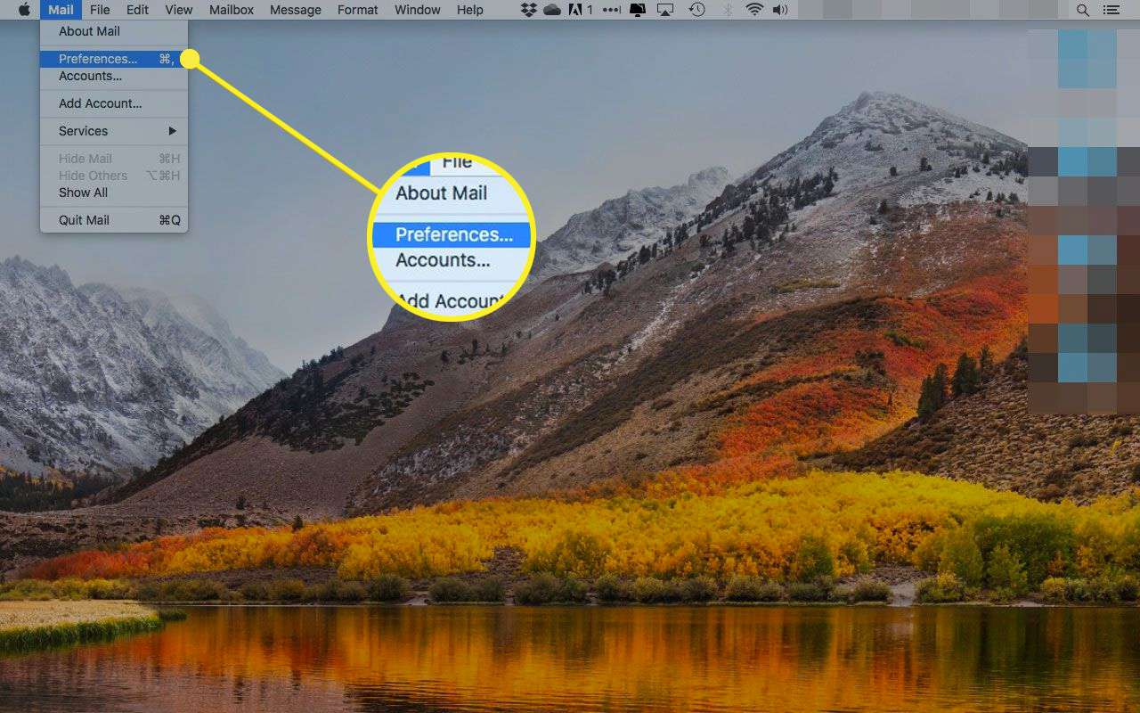 Mac OS X Mail with the Preferences option highlighted