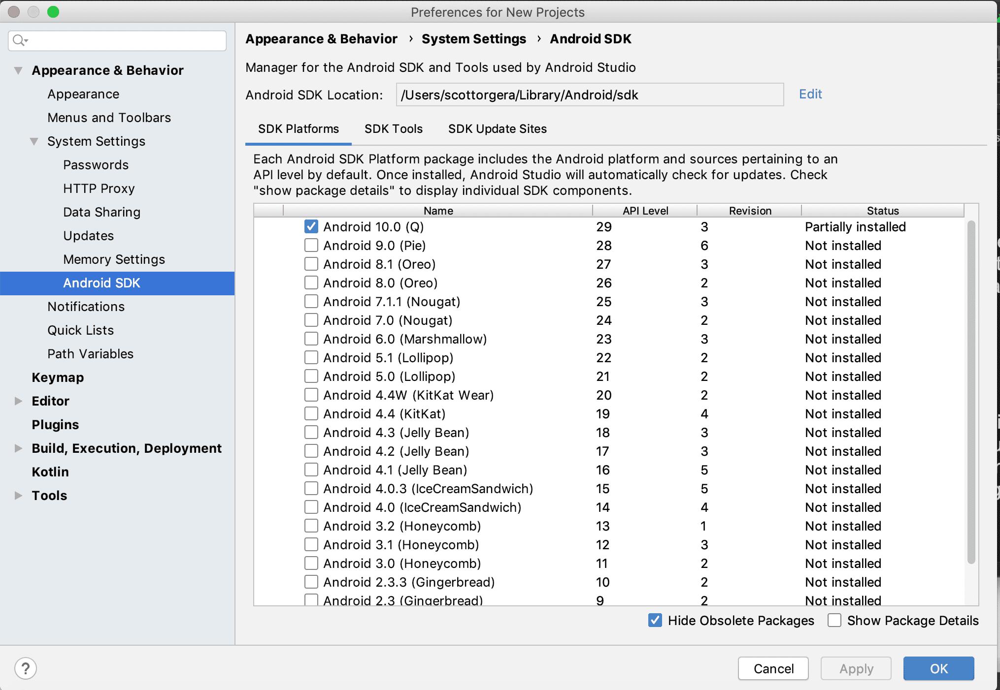 screenshot of Android Studio SDK Manager
