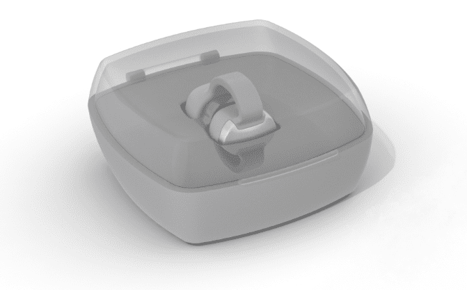 Isometric 3D model of OxiWear stored in a carrying case