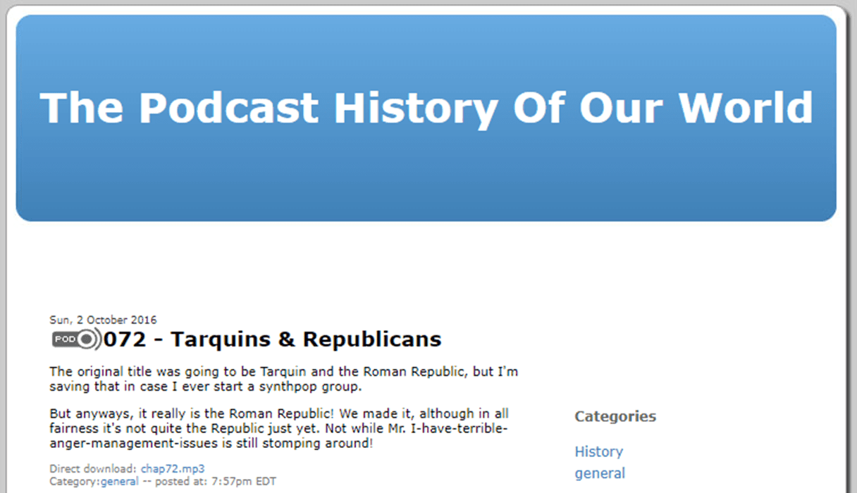 A screenshot of the website for The Podcast History of our World.