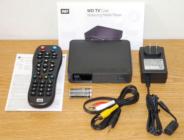 WD TV Live Streaming Media Player - Photo of Front View with Included Accessories