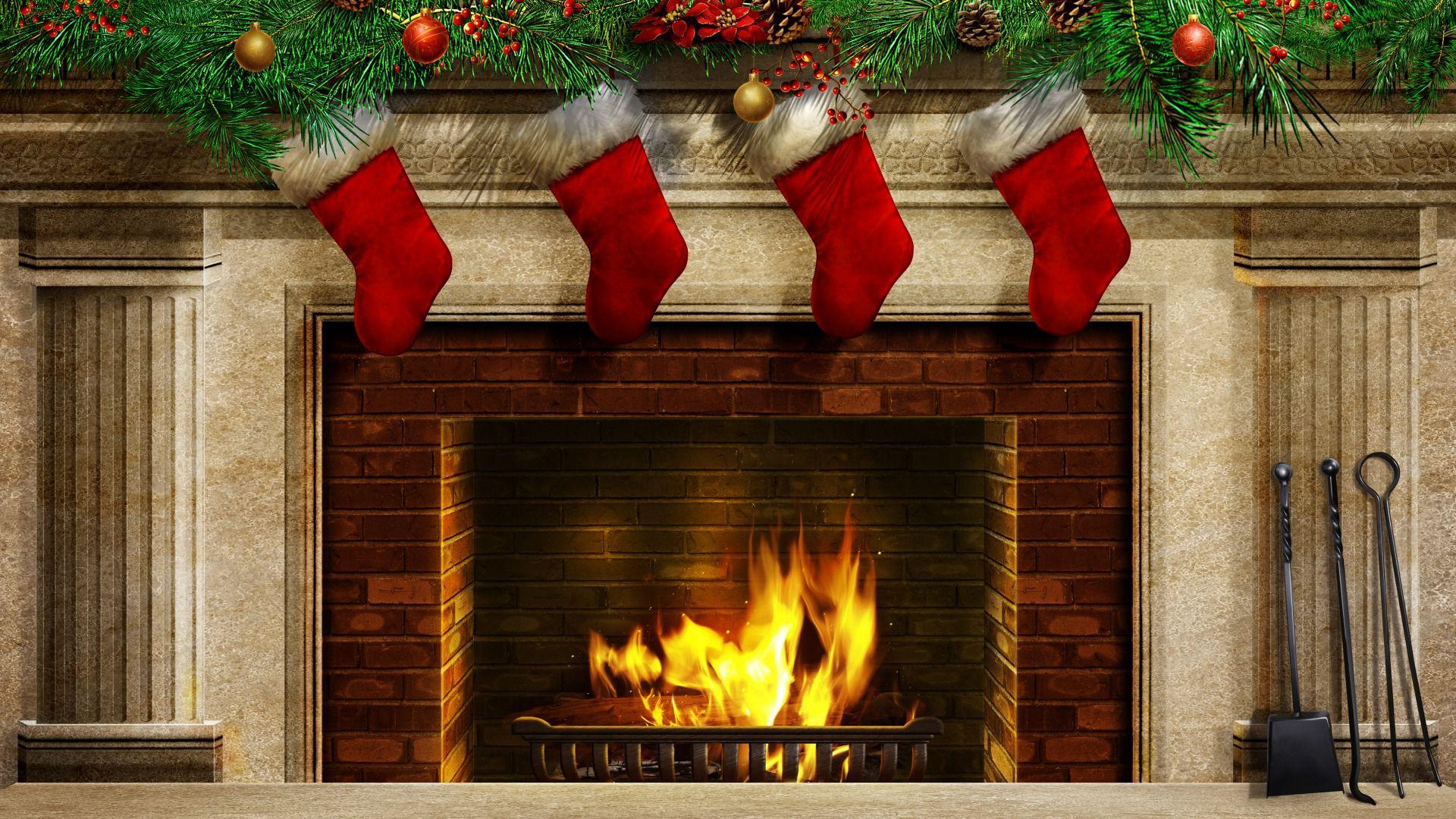 christmas fireplace wallpaper