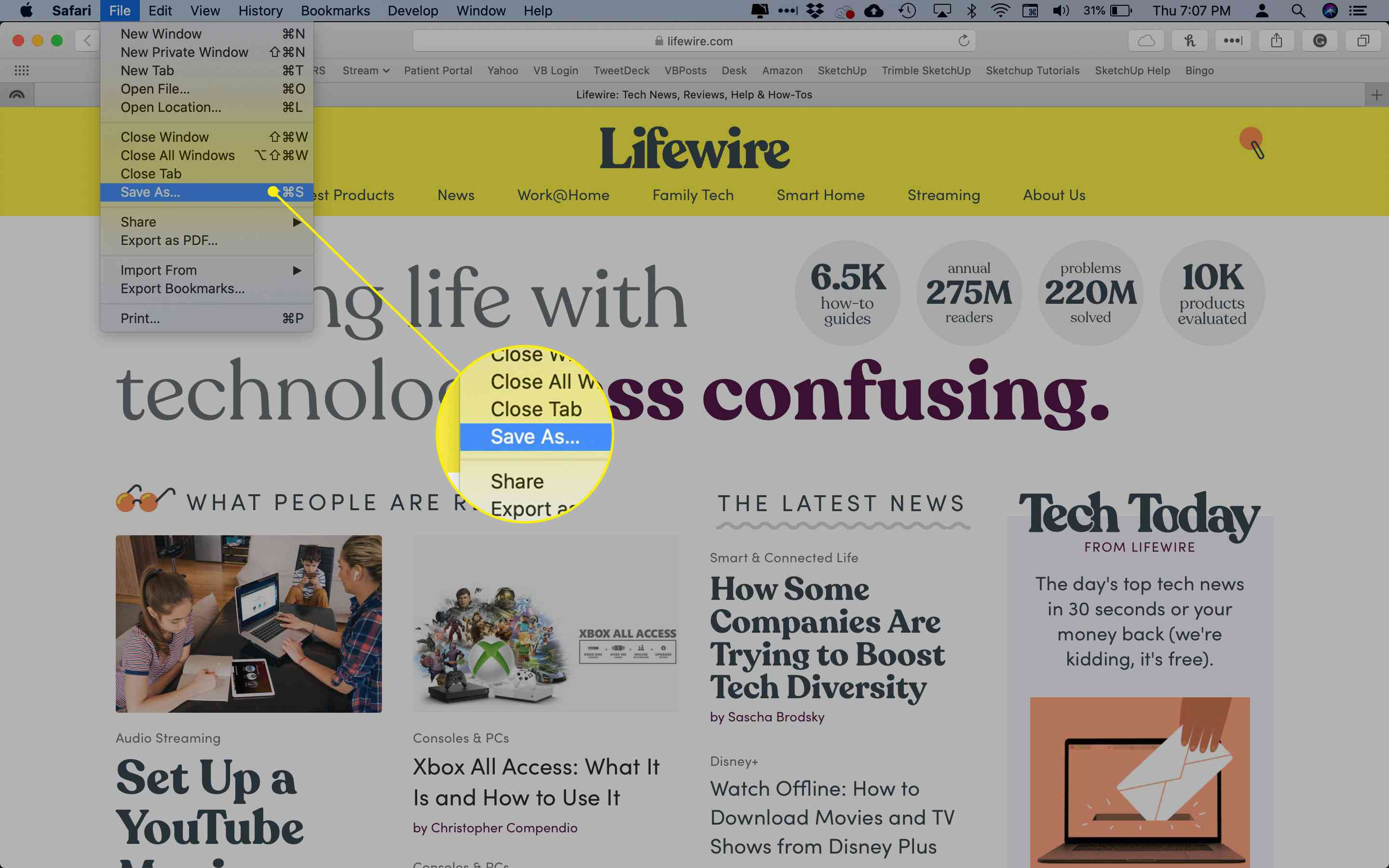 The Save As command in Safari