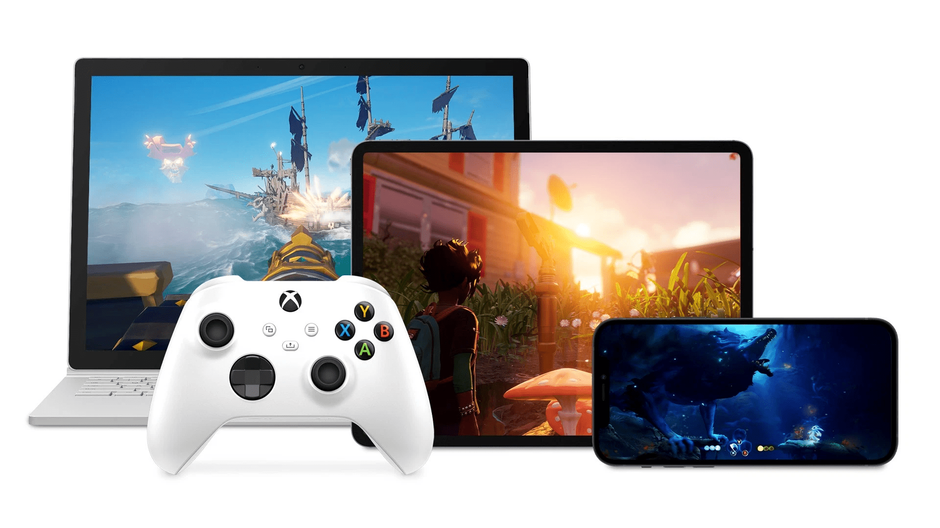 Xbox controller with computer, tablet, and phone screens