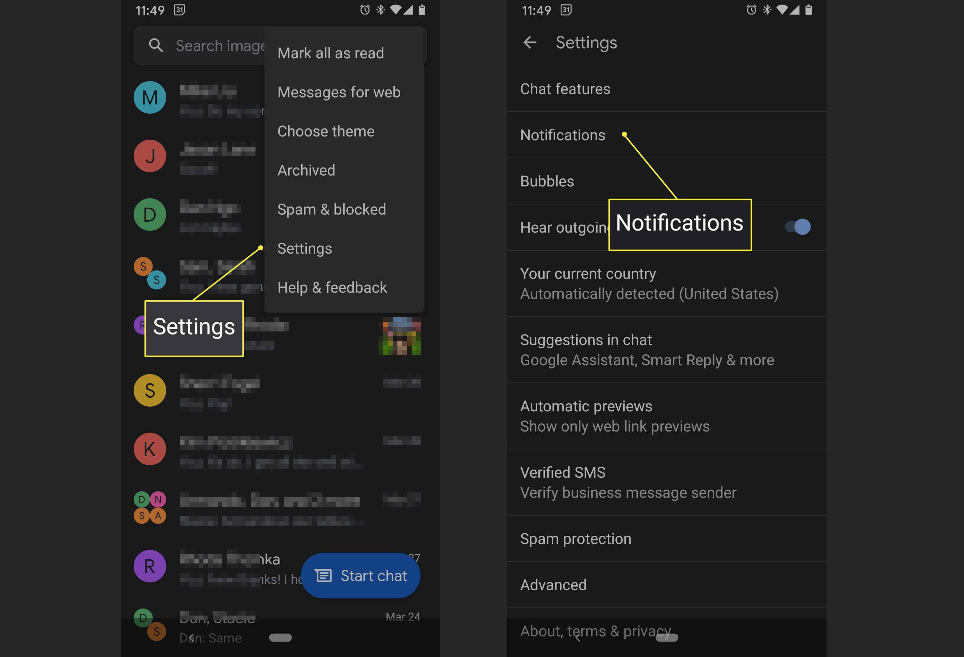 An Android Messages user accesses the notification settings