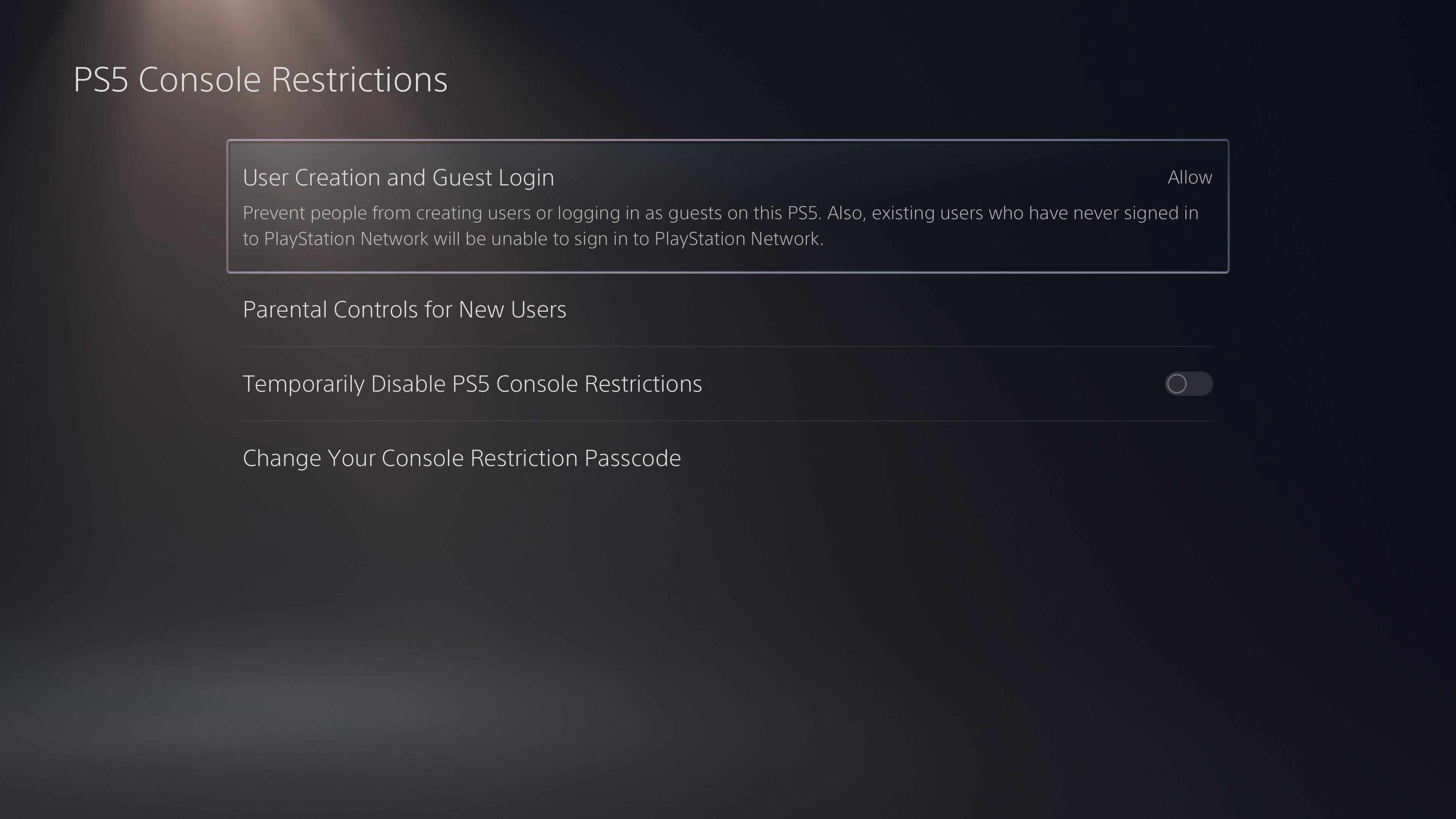 The PS5 Console Restrictions screen
